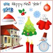 Happy New Year set for card or background with ribbons — Stockvector
