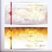Christmas greeting cards with gold bows. — Stock Vector