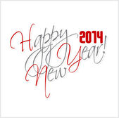 2014 Happy new year hand lettering. — Stockvector