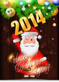 2014 gelukkig nieuwjaarskaart met santa claus — Stockvector