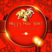 与圣诞老人的帽子、 蜡烛、 雪花 2014年快乐新的一年卡 — 图库矢量图片
