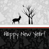 Gelukkig nieuwjaarskaart met herten — Stockvector