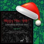 Carta di felice anno nuovo con cappello santa — Vettoriale Stock
