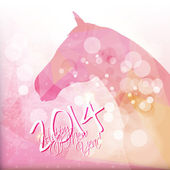 С новым годом 2014 карты или фон с лошадью — Cтоковый вектор