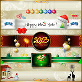Happy New Year and Merry Christmas Set of frames, vintage labels, ribbons, stickers — Stock Vector