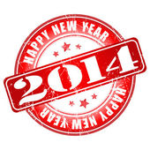 Happy new year 2014 red grunge rubber stamp — Stock Vector
