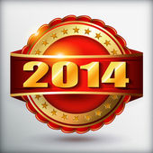 Happy new year 2014 red golden label with ribbon — Stock Vector