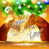 Karta szczęśliwego nowego roku 2014 z końmi — Wektor stockowy