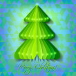 Green origami Christmas tree greeting card on blue background — Stock Vector