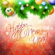 Happy New Year card or background with tree, balls and snowflakes. — Stok Vektör