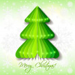 Green origami Christmas tree greeting card on background with snowflakes. — Stock Vector