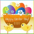 Easter day card or background - basket with colored eggs and flowers. — Stock Vector