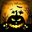 Halloween grunge vector card or background with skull, pumpkin and bat. — Imagen vectorial