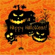 Halloween grunge vector card or background. Vector art. — Stock Vector #35721495
