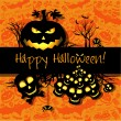Halloween grunge vector card or background. Vector art. — 图库矢量图片