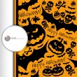 Halloween grunge vector pattern with skull, pumpkin and bat. — Stok Vektör