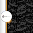 Halloween grunge vector pattern with skull, pumpkin and bat. — Stock Vector