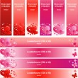Valentines Day Banner Set with Hearts and Flowers — Stock Vector #35722385