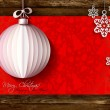 White origami Christmas ball greeting card on wood background — Stock Vector