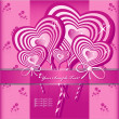 Vector Heart Flower background or card. — 图库矢量图片