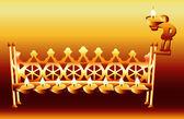 16th Century German Hanukkah Menorah. — Stock Vector