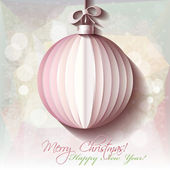 White origami Christmas ball greeting card on snowflakes background. — Stock Vector