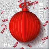 Rote origami weihnachten kugel-grußkarte auf hintergrundmuster. — Stockvektor