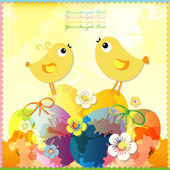 Easter card with colored eggs and flowers. — Stock Vector