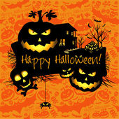 Halloween grunge vector card or background. Vector art. — Stock Vector