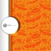 Halloween grunge vector pattern with skull, pumpkin and bat. — Stock Vector