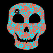 Colorful Skull with floral ornament. — Vector de stock