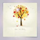 Vackra hösten träd kort eller bakgrund. — Stockvektor