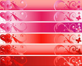 Valentines Day Banner Set with Hearts and Flowers — Stock Vector
