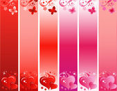 Valentines Day Skyscraper Banner Set with Hearts and Flowers — Stock Vector