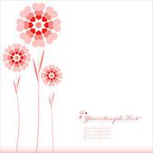 Vektor hjärtat blommor bakgrund eller kort. — Stockvektor