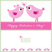 Heart Valentines Day background or card with birds. — Stock Vector