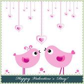 Fundo de dia dos namorados coração ou cartão com pássaros. — Vetorial Stock