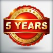 5 years anniversary golden label — Stock Vector
