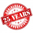 25 years anniversary stamp. — Stockvectorbeeld