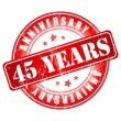 Stock Vector: 45 years anniversary stamp.