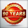 90 years anniversary golden label — Stockvectorbeeld