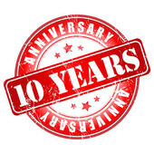 10 years anniversary stamp. — Stock Vector