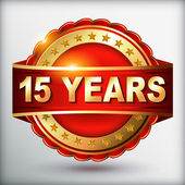15 years anniversary golden label — Stock Vector