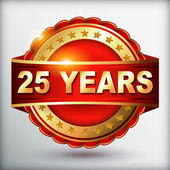 25 years anniversary golden label — Stock Vector