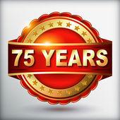 75 years anniversary golden label — Stock Vector