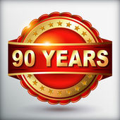 90 years anniversary golden label — Vector de stock