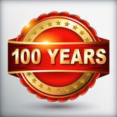 100 years anniversary golden label — Stock Vector
