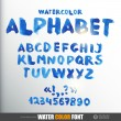 Watercolor alphabet with numbers and symbols — Vektorgrafik