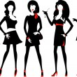 Silhouette of a fashion women. — Imagen vectorial