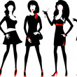 Silhouette of a fashion women. — Stockvectorbeeld